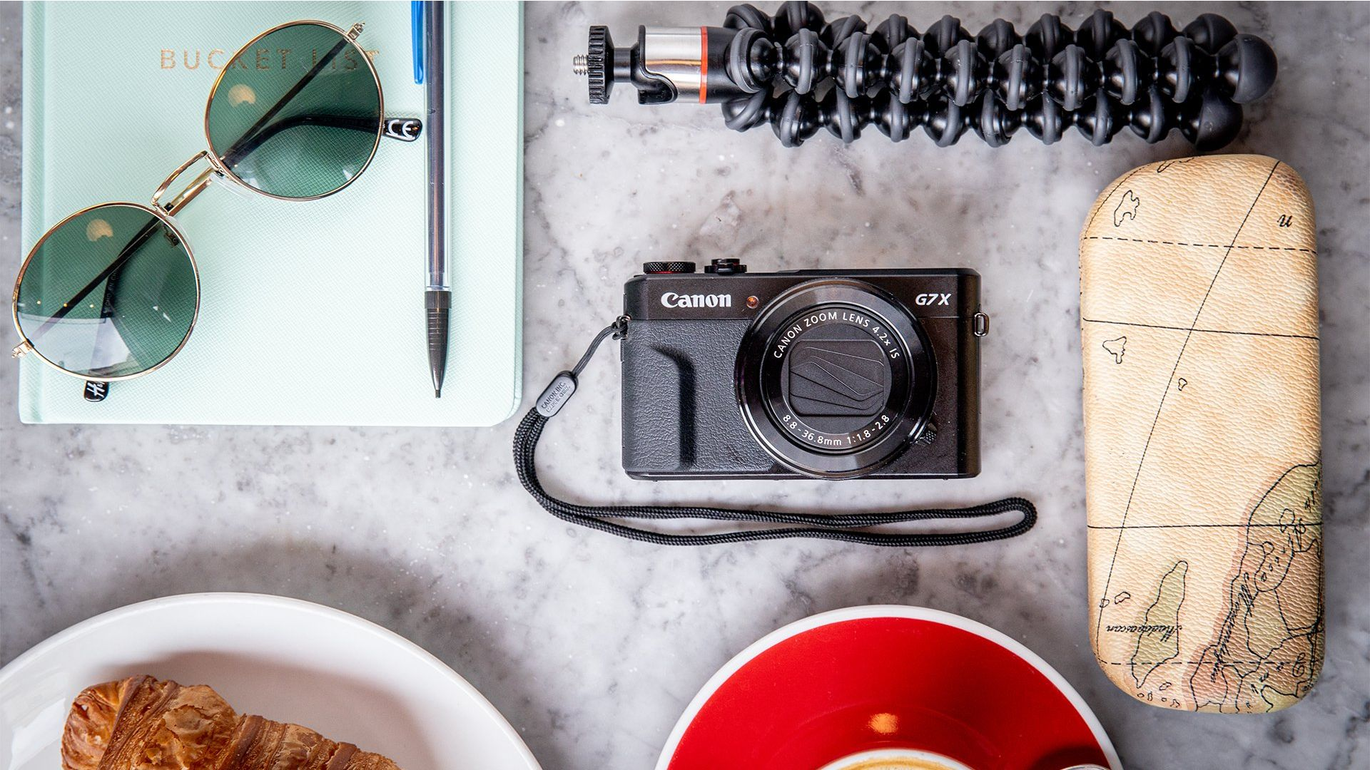 A flatlay of a vlogger's equipment including the Canon G7 X Mark II.